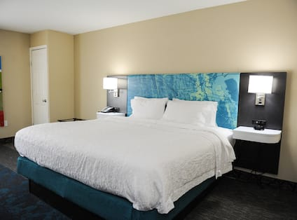 Large bed in hotel room