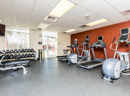 Fitness Center with Weights Treadmills and Recumbent Bike