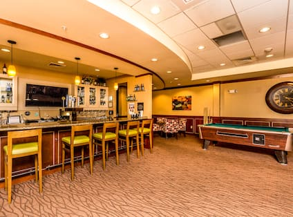 The Office Lounge Bar Area with HDTV and Pool Table