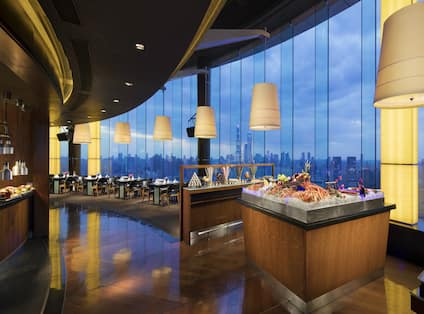Restaurant Dining Area with City View