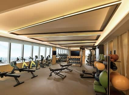 Fitness centre with aerobic machines and weights