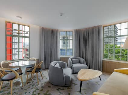 Presidential Suite Living Room with Large Windows
