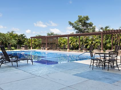 Palm Trees Surrounding Outdoor Pool with Lounge Chairs and Table Seating