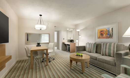 Spacious living area in accessible suite featuring TV, sofa, work desk, and wet bar.
