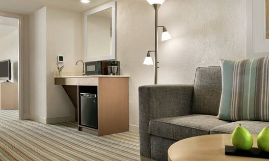 Spacious lounge area in accessible suite featuring comfortable sofa and convenient wet bar.