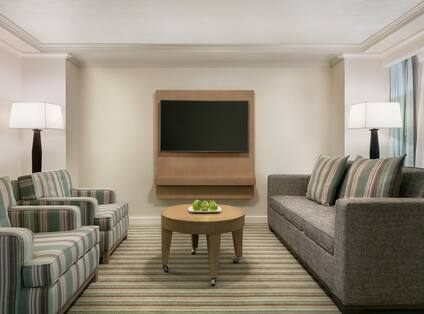 Spacious lounge area in presidential suite featuring comfortable seating and TV.