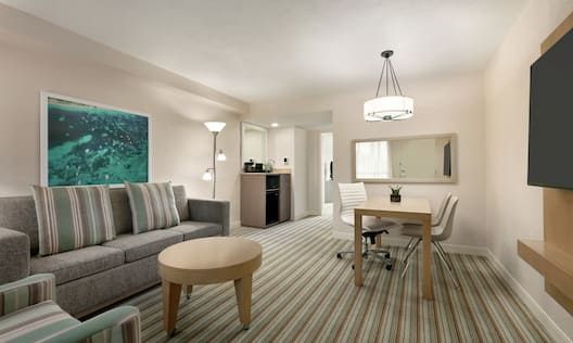Spacious living area in suite featuring sofa, TV, dining table and convenient wet bar.