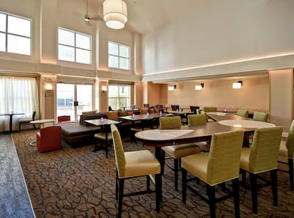 Lobby seating for breakfast and evening social