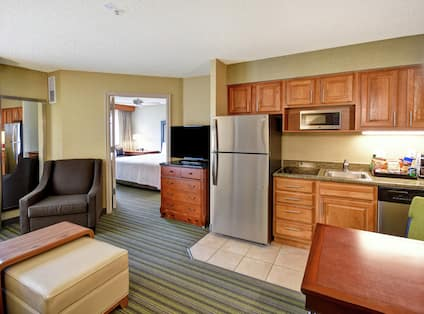 Suite living room and kitchen space