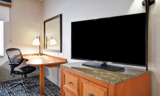 Guestroom Amenities TV and Work Desk Area