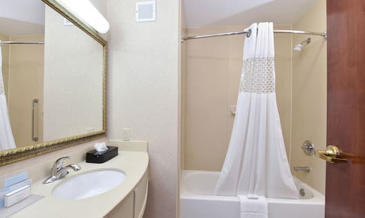 Guest Bathroom with Tub, Vanity, and Amenities