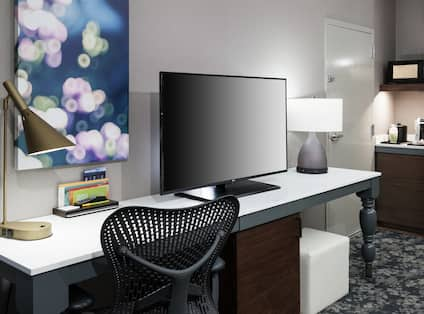 Guest Room with Wet Bar, Large Work Desk and Ergonomic Chair