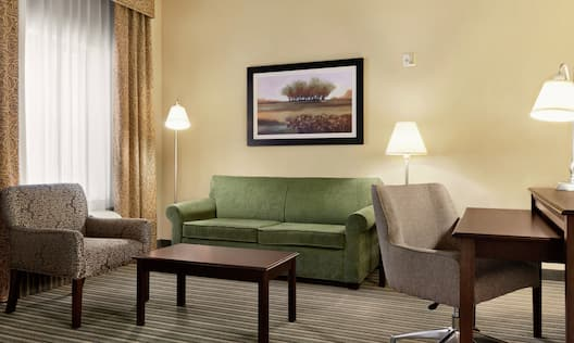 Suite Living Area with Sofa Small Table Desk and Soft Chair