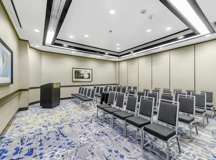 Meeting Room with Chairs and Podium