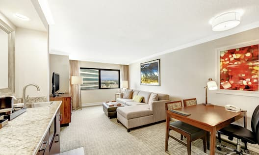 Two Room Suite Living Area, Wet Bar and Dining Table