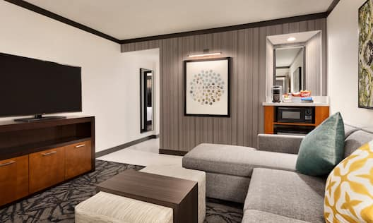 Suite Living Area with Couch and Television