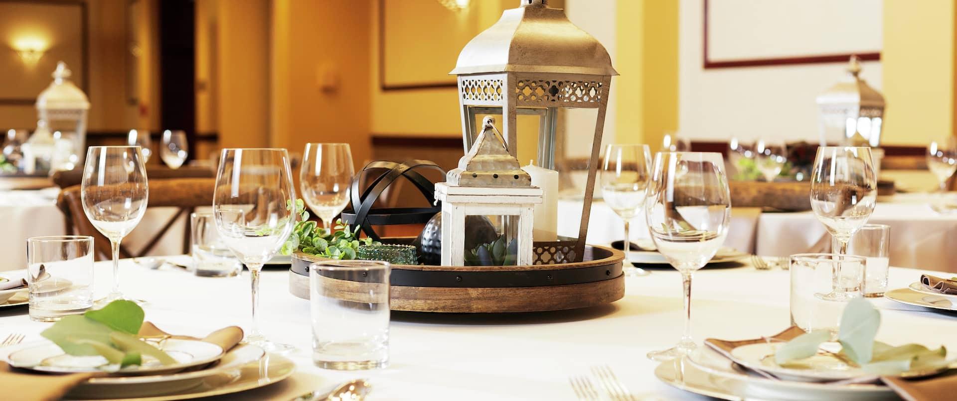 Table setup with crockery