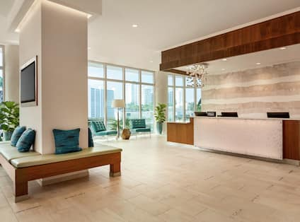 Hotel Front Desk And Lobby Area