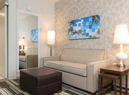 Home2 Suites by Hilton Nokomis Hotel, FL - King Studio Sofabed and Ottoman