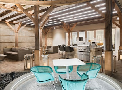 Outdoor Patio Seating With BBQ Grills