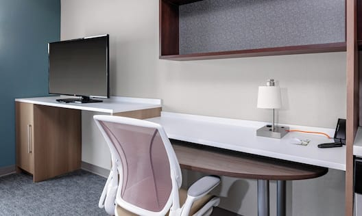Suite desk, TV and workspace