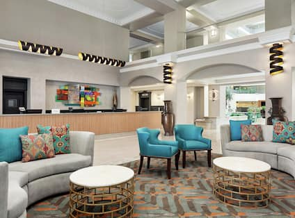 Hotel Lobby Front Desk and Lounge Area