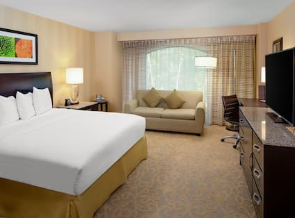 Guest Room with Large Bed Desk HDTV and Sofa