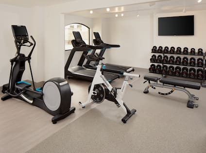 Fitness Center with Weights Exercise Bike and Treadmills