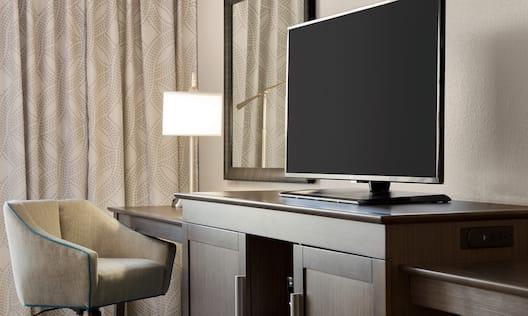 Guestroom HDTV and Work Desk