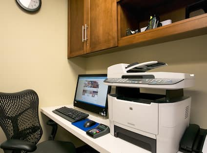 Business Center with Desktop Computer, Office Chair and Printer