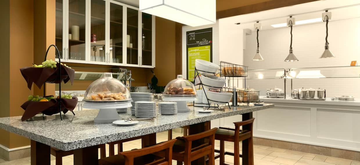 Breakfast Dining Area with Food Selection on Table