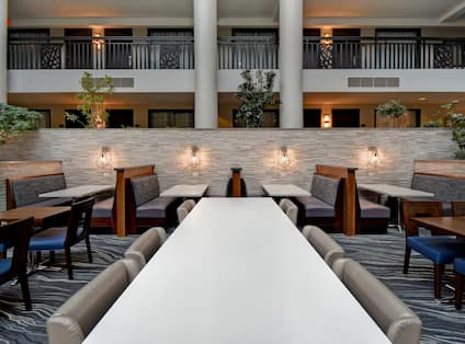 lobby and dining seating area