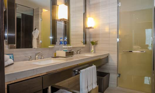 Guest Bathroom Vanity with Two Mirrors, Two Sinks and Walk-In Shower
