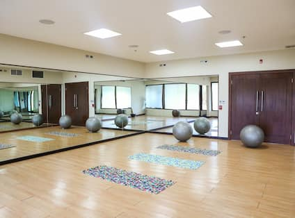 Fitness Center with Wall Length Mirror, Yoga Mats and Exercise Balls