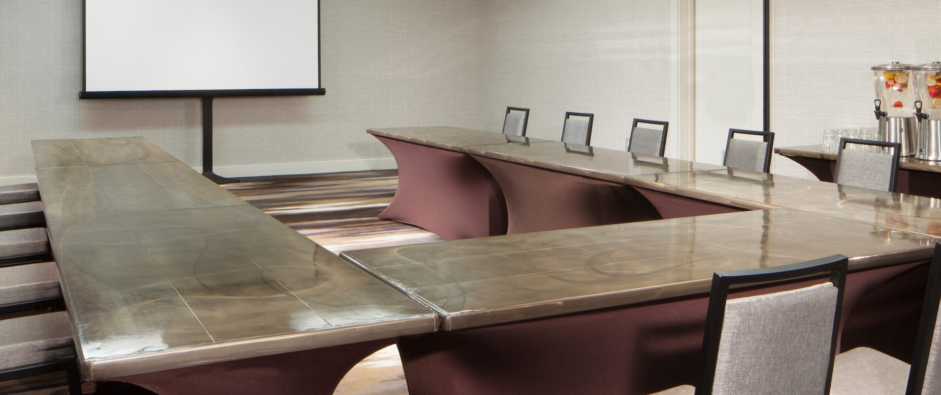 Meeting Room U-Shape Table Layout with Projector Screen
