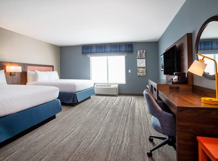 Accessible Guest Room with Two Beds HDTV and Work Desk