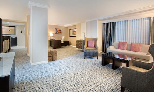 Lounge area in suite with comfortable seating