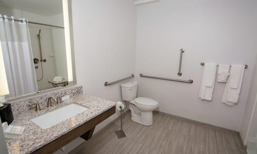 Accessible Guestroom Bathroom with Mirror, Vanity, Toilet, Shower, and Bathtub