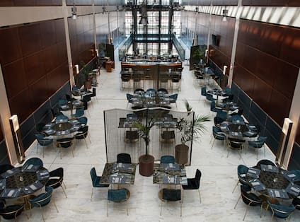 Overhead View of Restaurant Dining Area