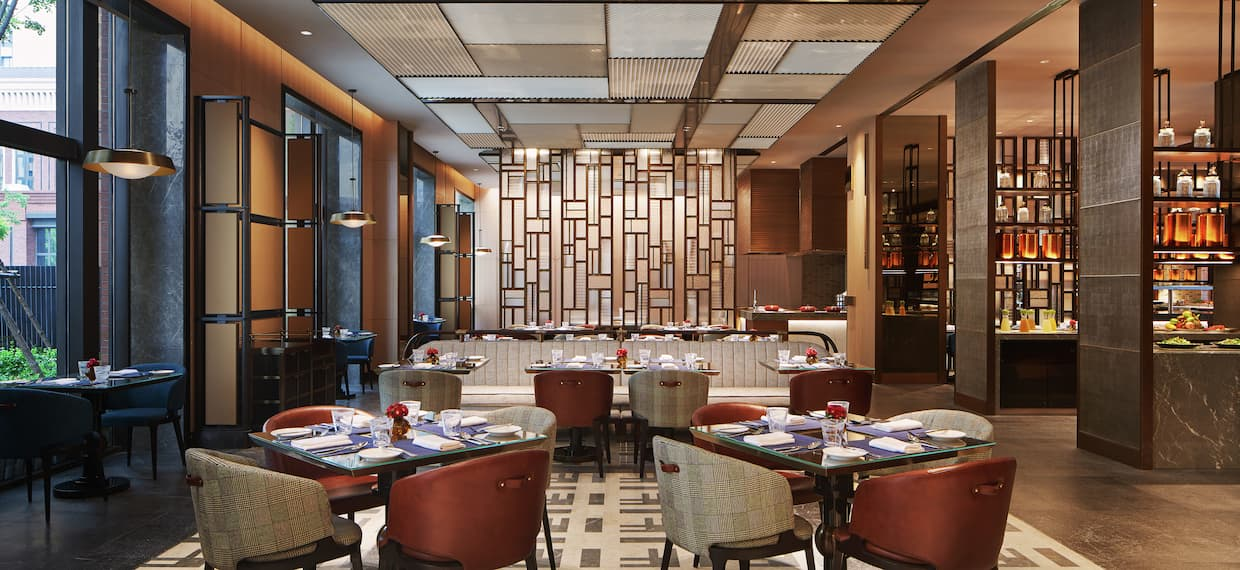 Brasserie seating area with tables and chairs