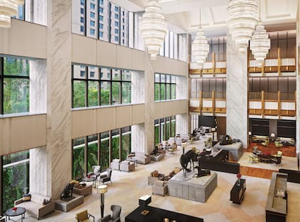 Lobby lounge with tables and chairs