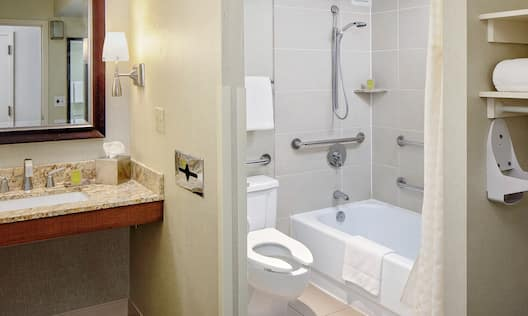 an accessible tub with grab bars and a mobility accessible sink