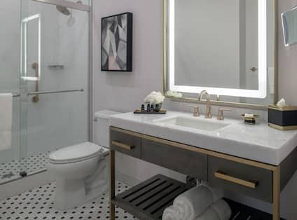 Guestroom Bathroom with Mirror, Vanity, Toilet, and Walk-In Shower