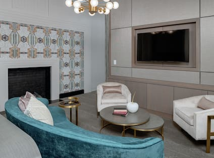 King Petite Lounge Suite Seating Area with HDTV