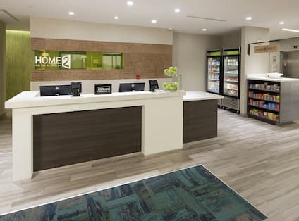Front Desk Reception Area with On-Site Snack Shops