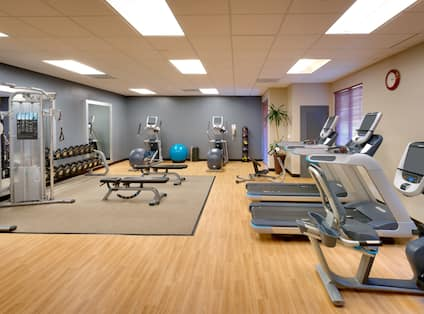 Fitness center with cardio machines and free weights.