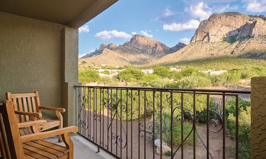 Mountain View from Balcony with Chairs