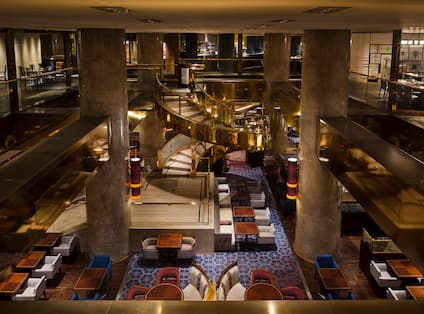 Lobby Lounge Area With Restaurant Dining