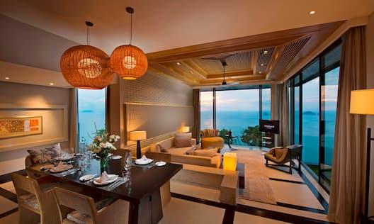 Oceanview Three Bedroom Pool Villa Living Space