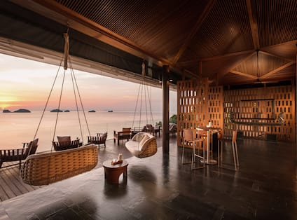 View of lounge with sunset